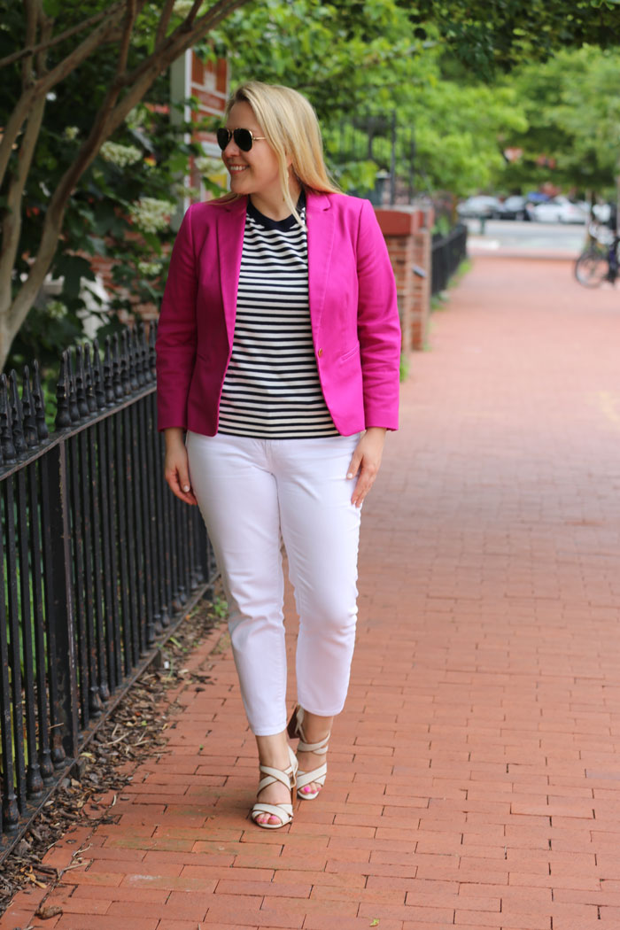 How To Style White Jeans for Work | @dcgirlinpearls
