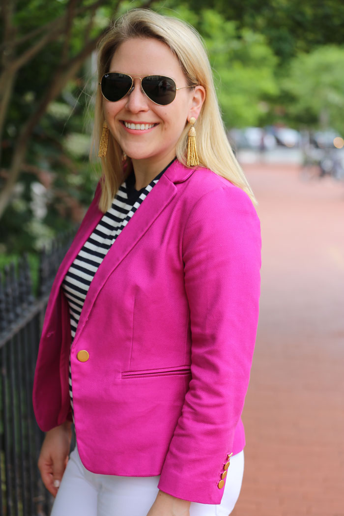 Pink Blazer for Work | @dcgirlinpearls