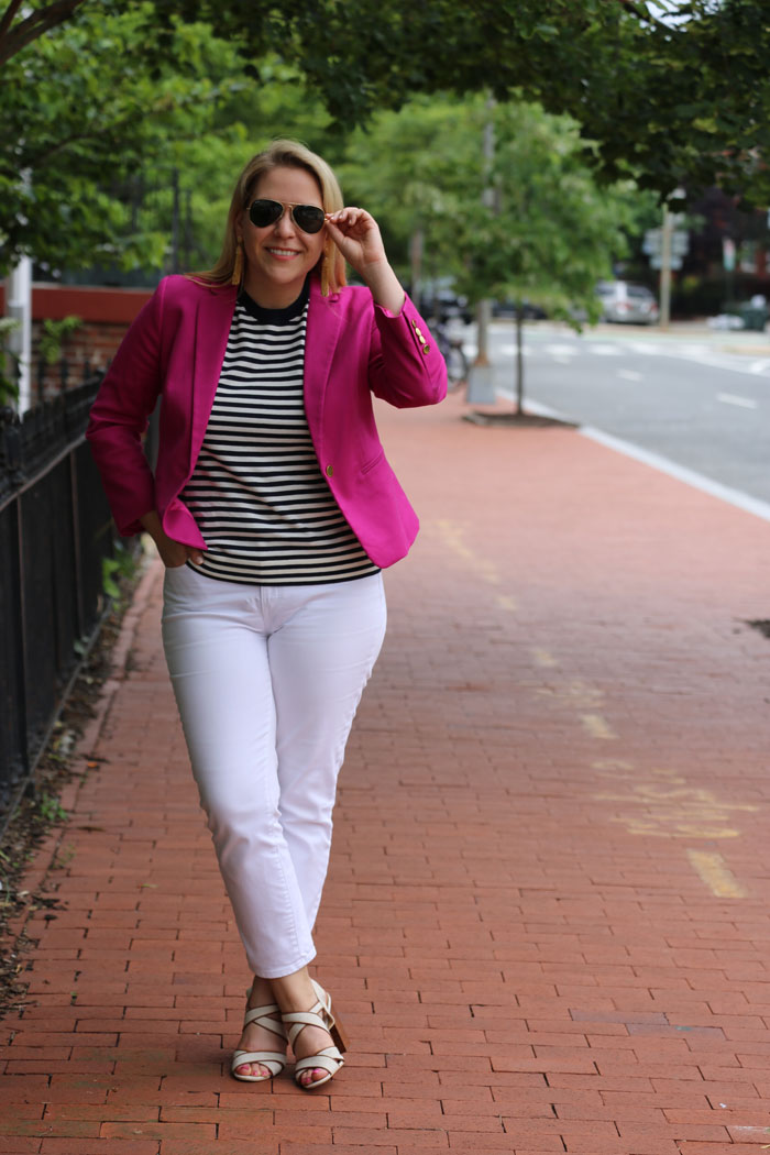 White Jeans for Work | @dcgirlinpearls