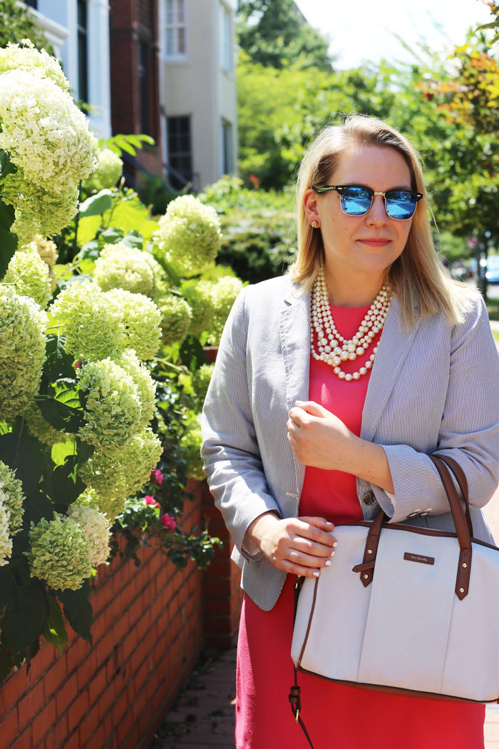 Seersucker Blazer and Coral Dress | @dcgirlinpearls