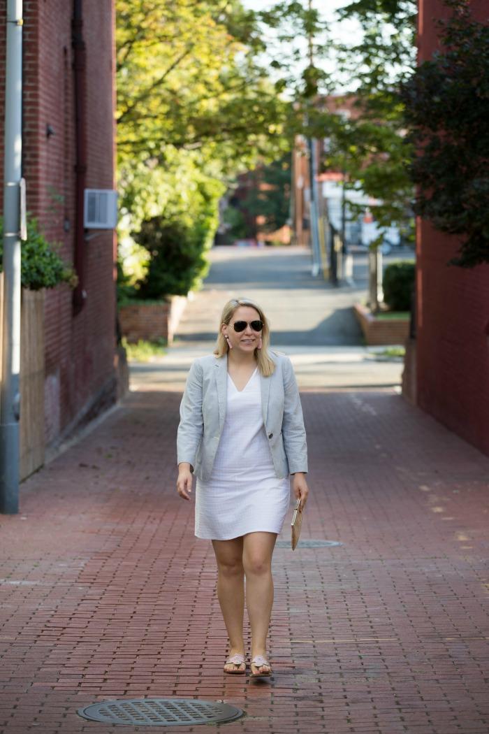 White Eyelet Dress + Seersucker Blazer | @dcgirlinpearls