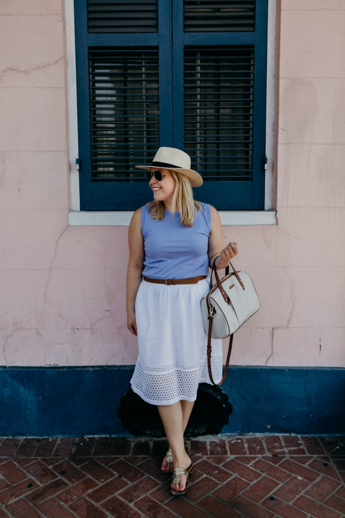 Jackie Shell Eyelet Midi Skirt | @dcgirlinpearls
