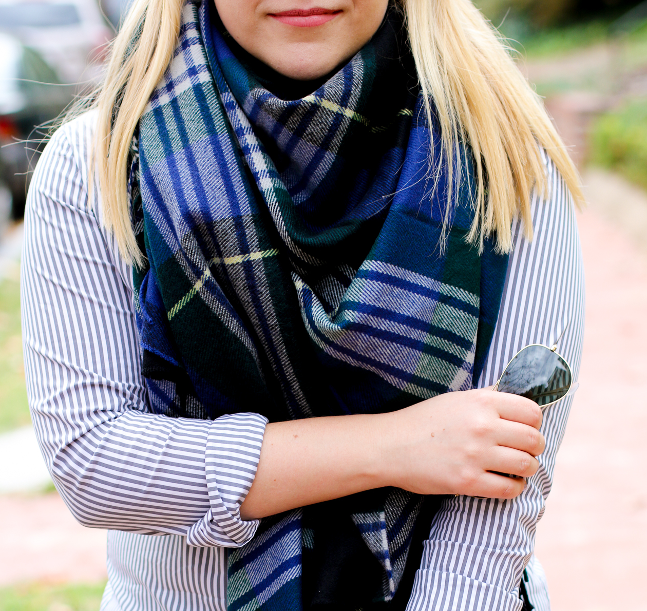 The Shirt in Stripe + Plaid Blanket Scarf | @dcgirlinpearls
