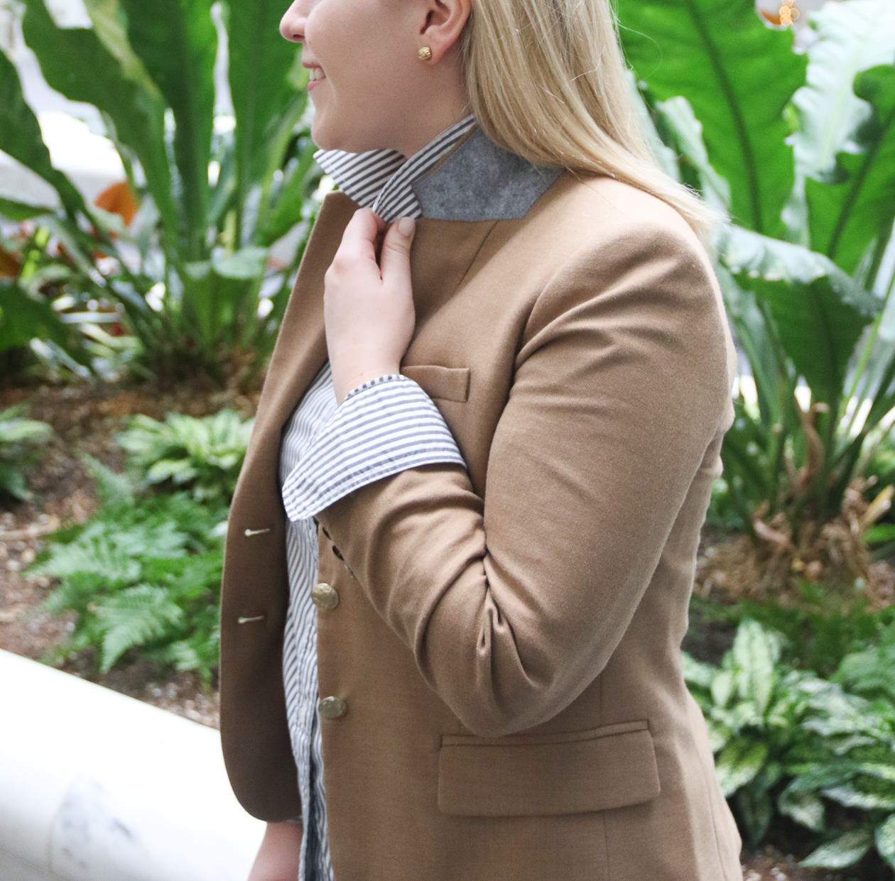 Faux Leather Leggings and Camel Blazer | @dcgirlinpearls
