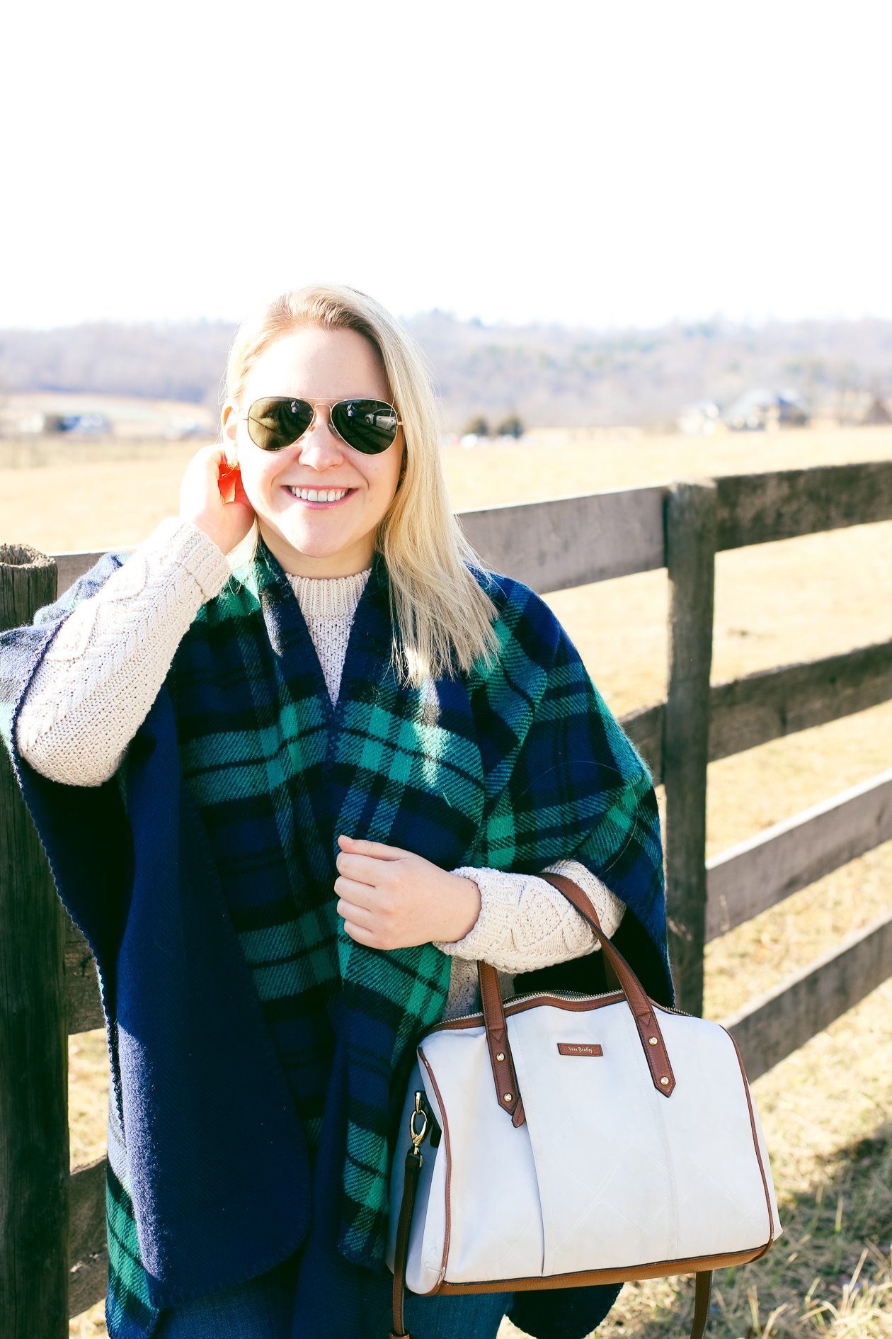 Blackwatch Plaid Poncho LL Bean Fisherman Sweater | @dcgirlinpearls