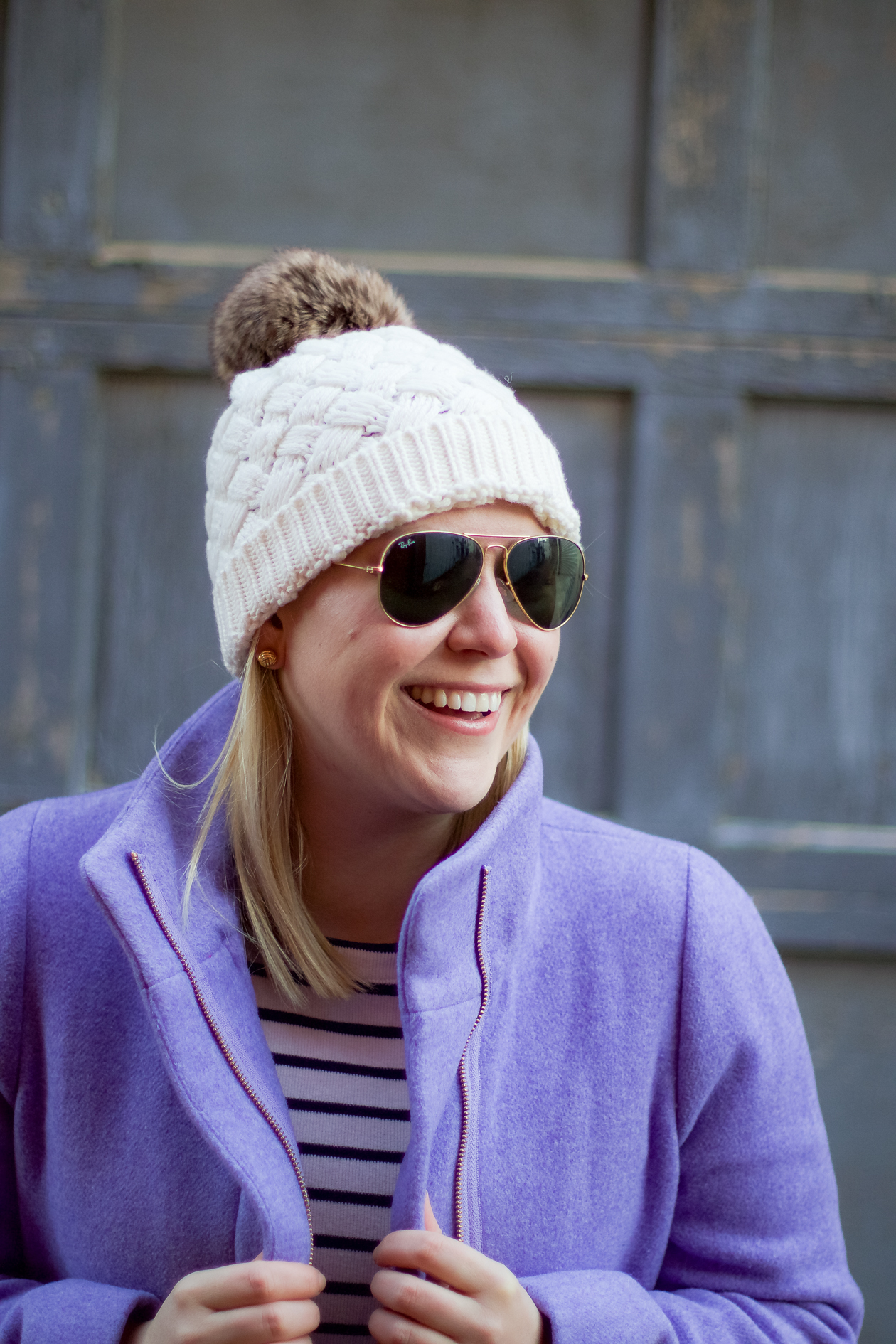 JCrew Factory City Coat and Pom Pom Hat | @dcgirlinpearls
